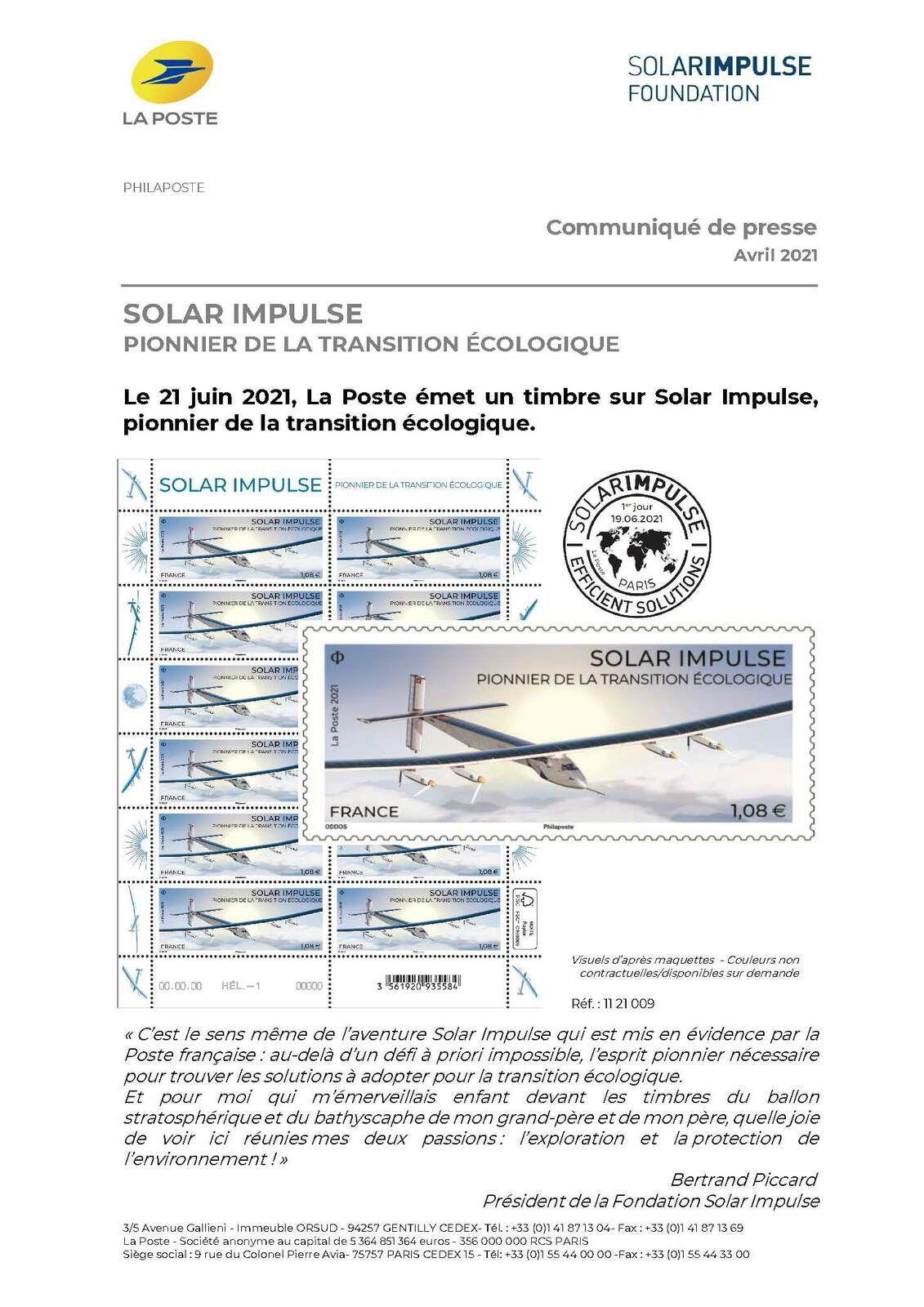Programme philatélique 2021   Solar Impulse