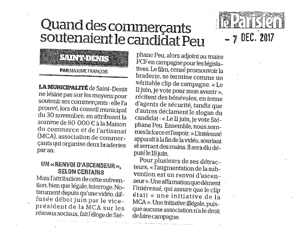 Le « clip de campagne » de la MCA pour Stéphane Peu dont parlent Le Canard Enchaîné et Le Parisien