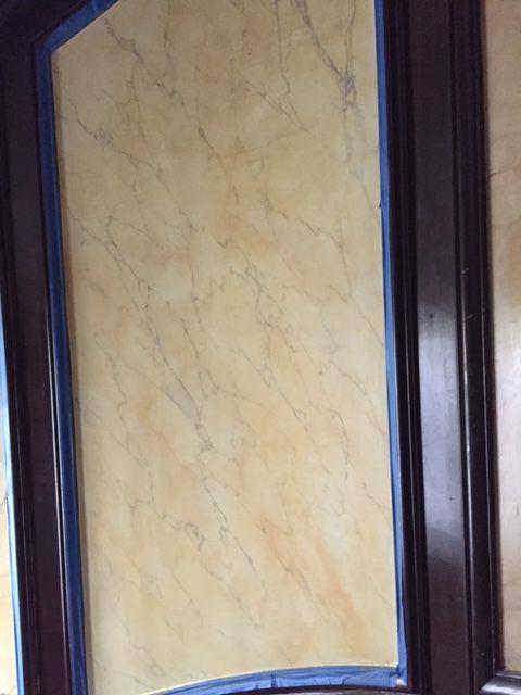 Préparation du support - recherche de teinte - réalisation du marbre