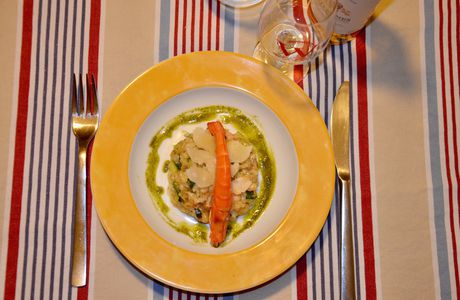 Le Risotto aux fruits de mer et Courgette
