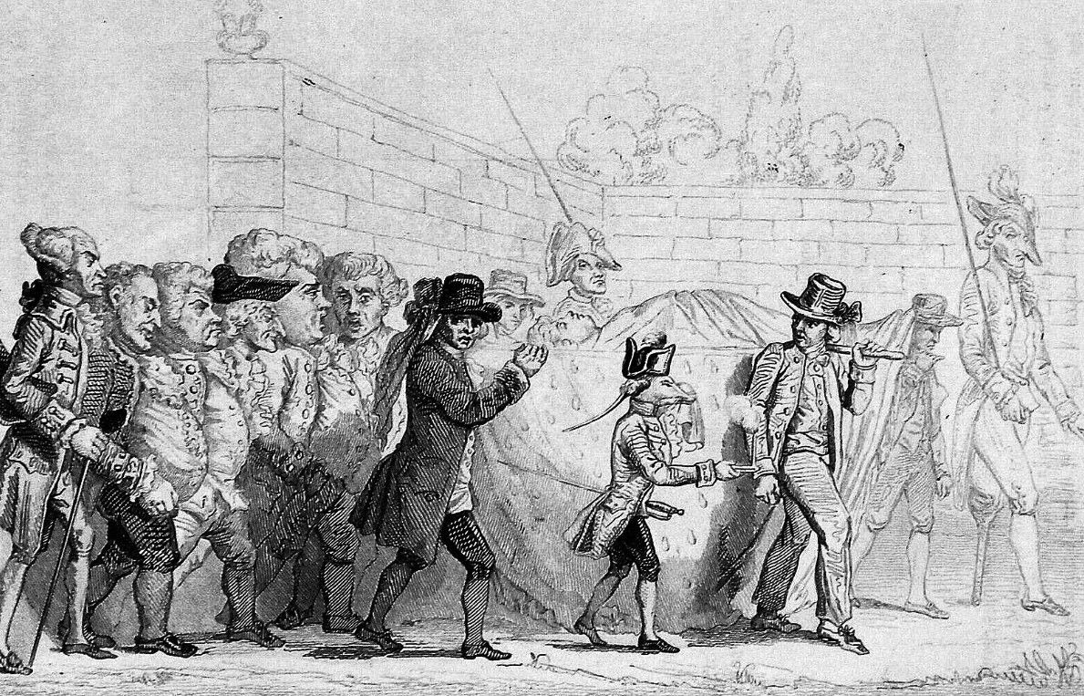 Caricature révolutionnaire de l'enterrement symbolique du fermier général.