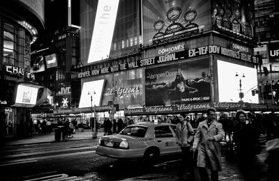 NYC Times Square Taxi by night BNW