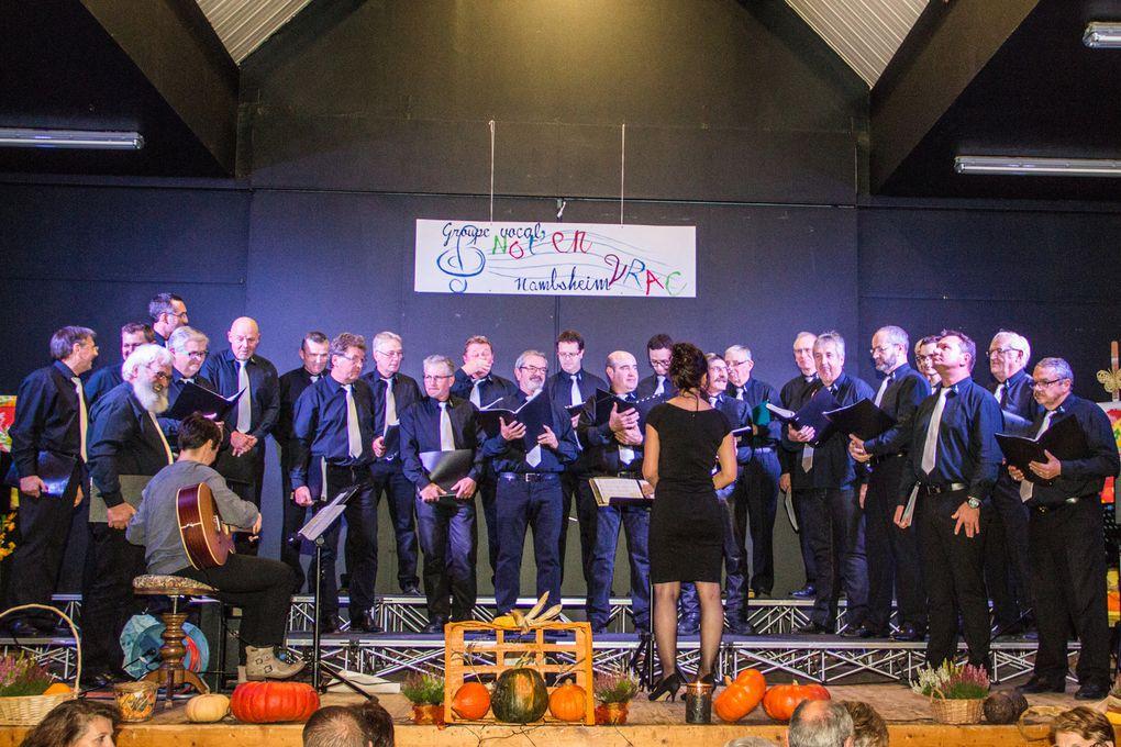 Les chorales participantes : 1 - Ste-Cécile Blodelsheim 2 - -A Choeur ouvert Obersaasheim, 3 - Ste-Cécile Fessenheim, 4 - Choeur d'hommes 1862 Riquewhir, 5 - Cécilia's Swing Wickerschwihr, 6 - Ste Cécile Rumersheim