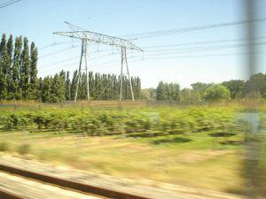 Paysages TGV Marseille-Rouen-séquence n°1 VPP-vergers-peupliers-portiques-Cl. Elisabeth Poulain.