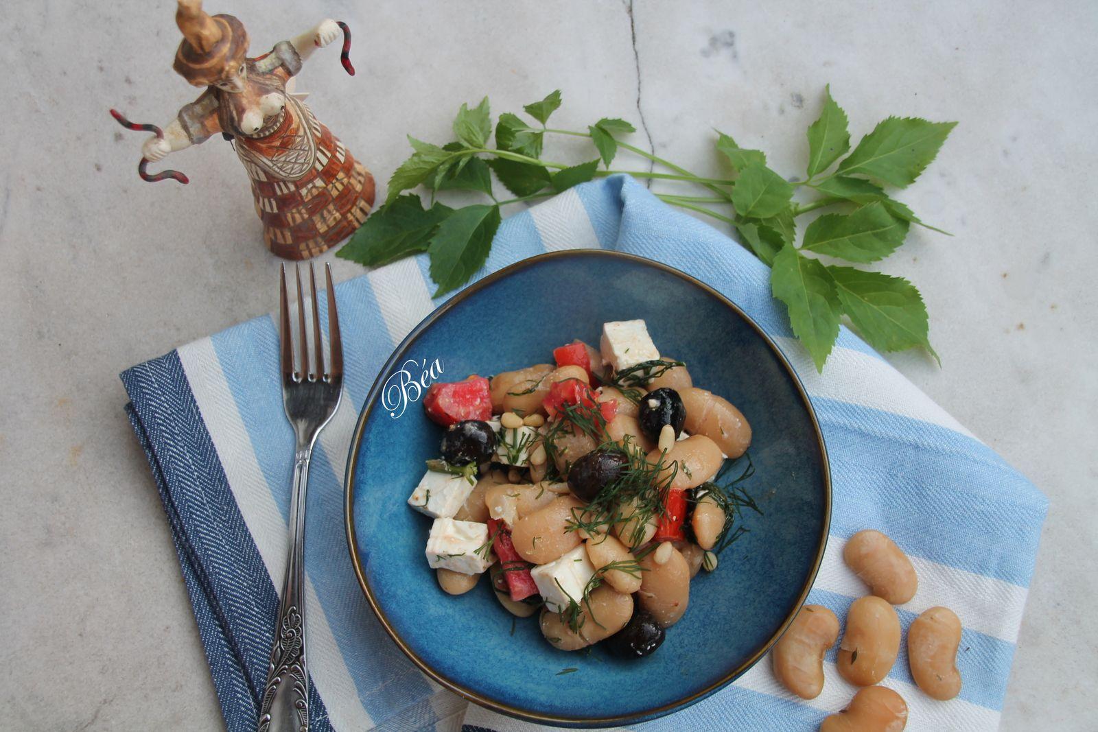 Salade grecque aux haricots géants et  à la féta