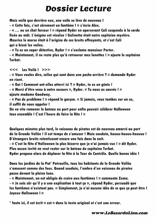 La Pat' Patrouille : Joyeux Halloween ! [Dossier Lecture][Halloween][Maternelle]