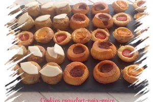 Clafoutis tomates cerises et tomates chorizo, cookies roquefort