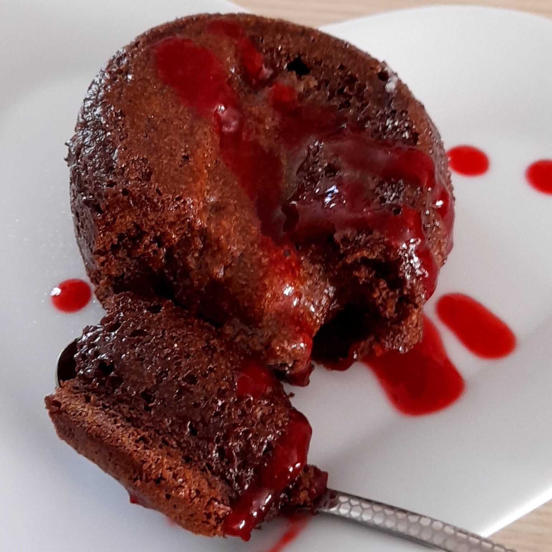 Moelleux au chocolat cœur coulant à la framboise