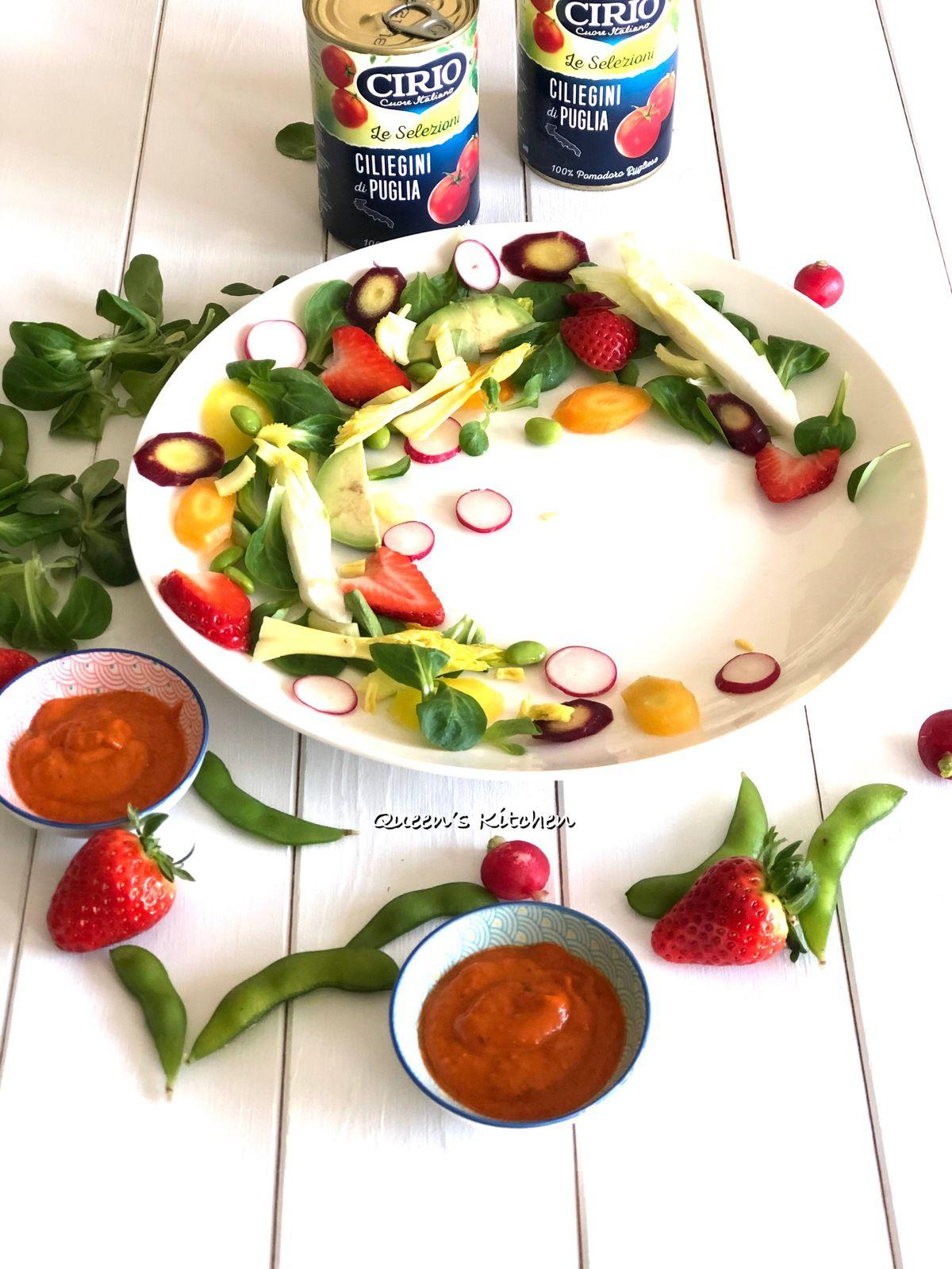 Tonno e Gamberi su Crema di Pomodorini  Arrosto con Insalata Primavera