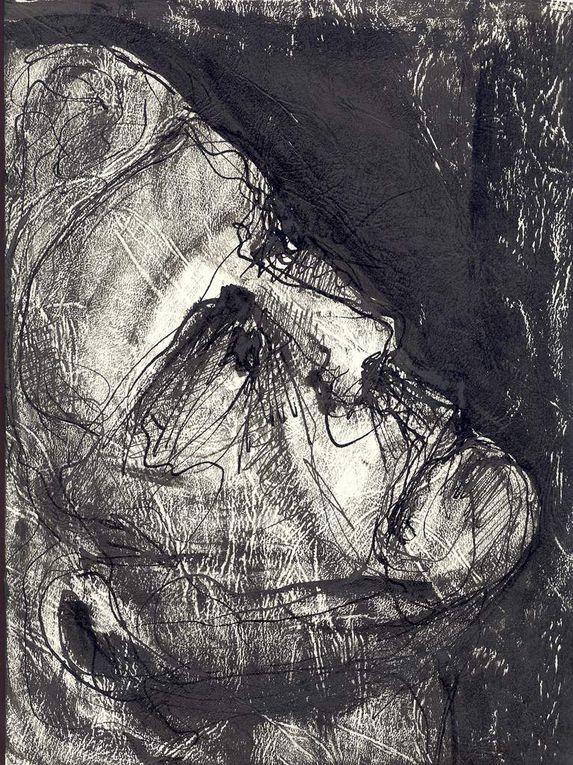 """Encre noire sur papier """"Eléphant"""",  50 cm x 70 cm, à partir de modèles vivants"""