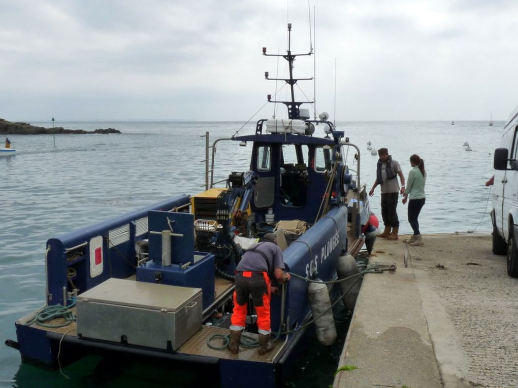 KAMARA , navire appartenant à l'entreprise  SOS PLONGEE pour les  travaux sous-marins, sortant du port de Doelan (sud finistère) , le 13 septembre 2016