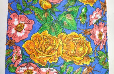 créer un motif de papier peint (roses et églantines) et ses déclinaisons