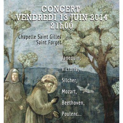 Concert : vendredi 13 juin à Saint-Forget (Dampierre)
