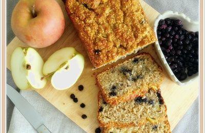 """Cake pommes, avoine et myrtilles ( sans """"sucre""""  et sans gluten)"""