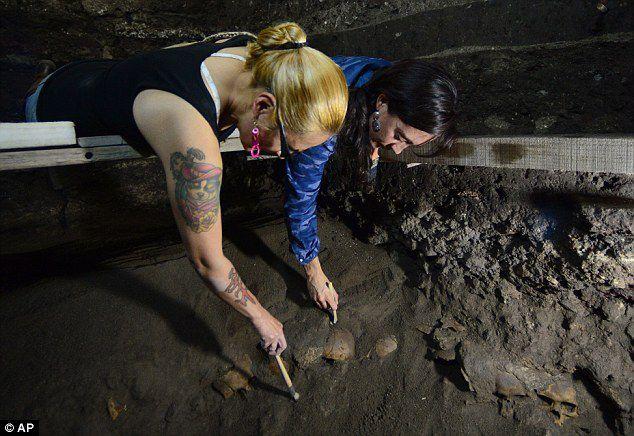 Mexique / Aztèques: découverte d'un mur de crânes humains