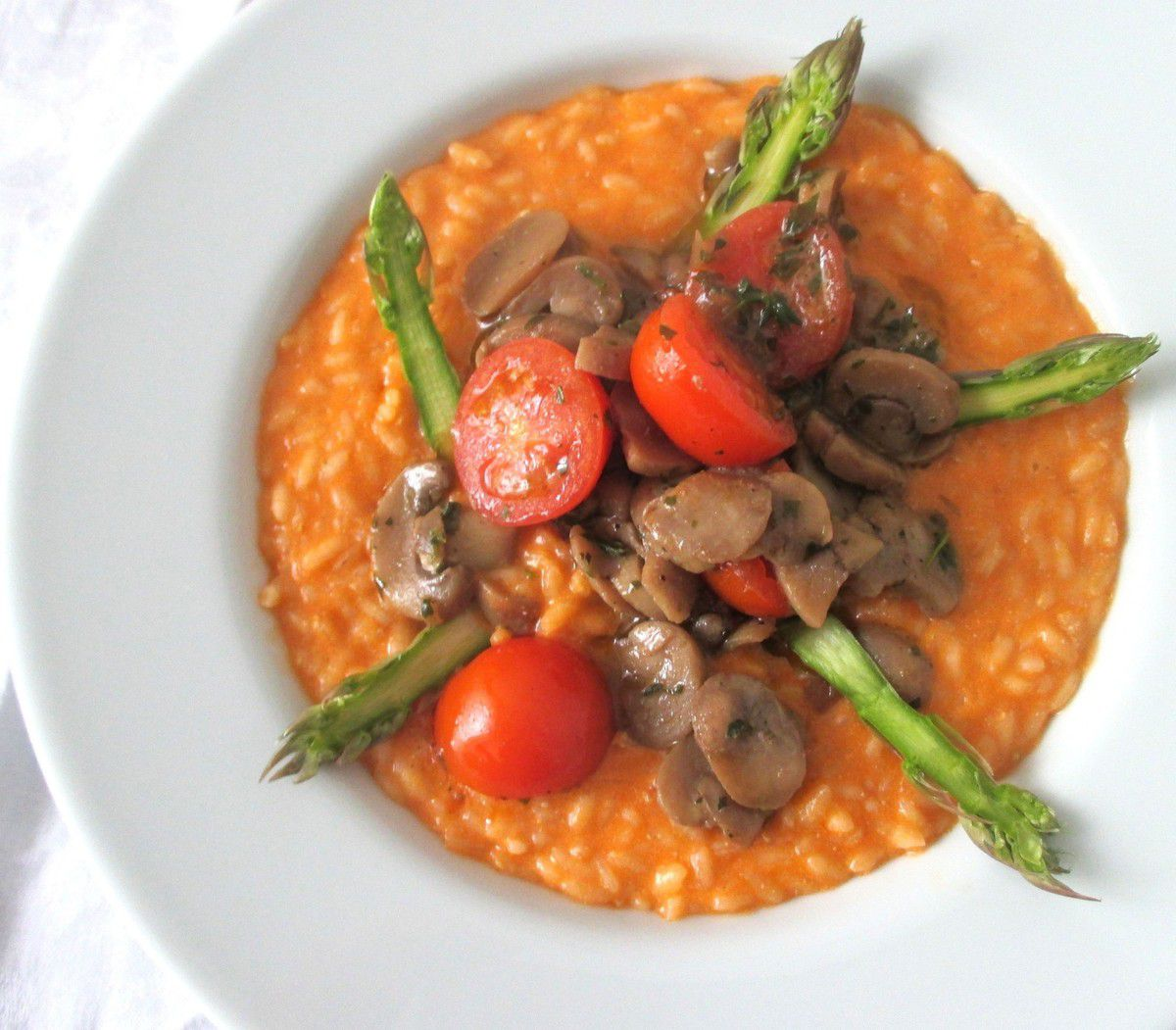 Risotto pomodoro, funghi & asparagi...