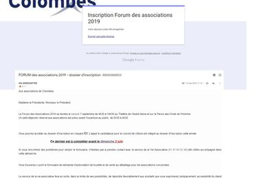 Inscription au Forum des associations : c'est fait, pour le colombes que jaime mais en attente de validation par la Mairie