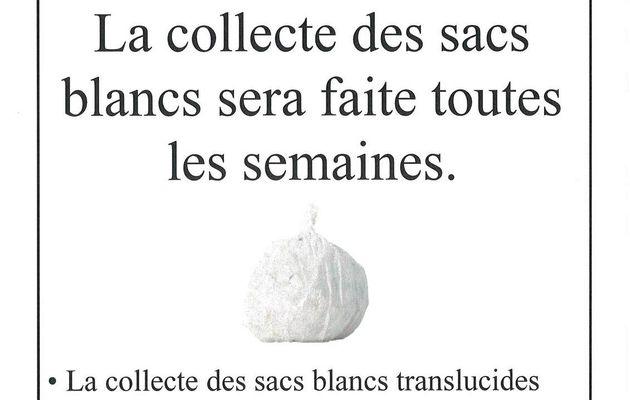 Information SMIRTOM - Collecte des sacs blancs.