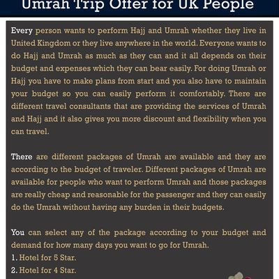 Umrah Trip Offer for UK People