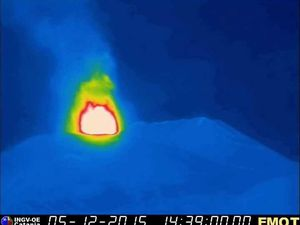 Etna 4 ° climax in La Voragine respectively at 15h39, 15h54 and 16h03 UTC (local time -1) - Doc. Thermal webcam INGV Catania