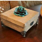 Lookie What I Did: A Cardboard Box Transformation with Burlap....