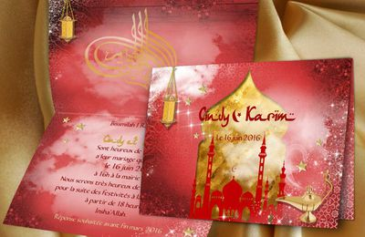 Faire-part de mariage oriental rouge et or, thème 1001 nuits