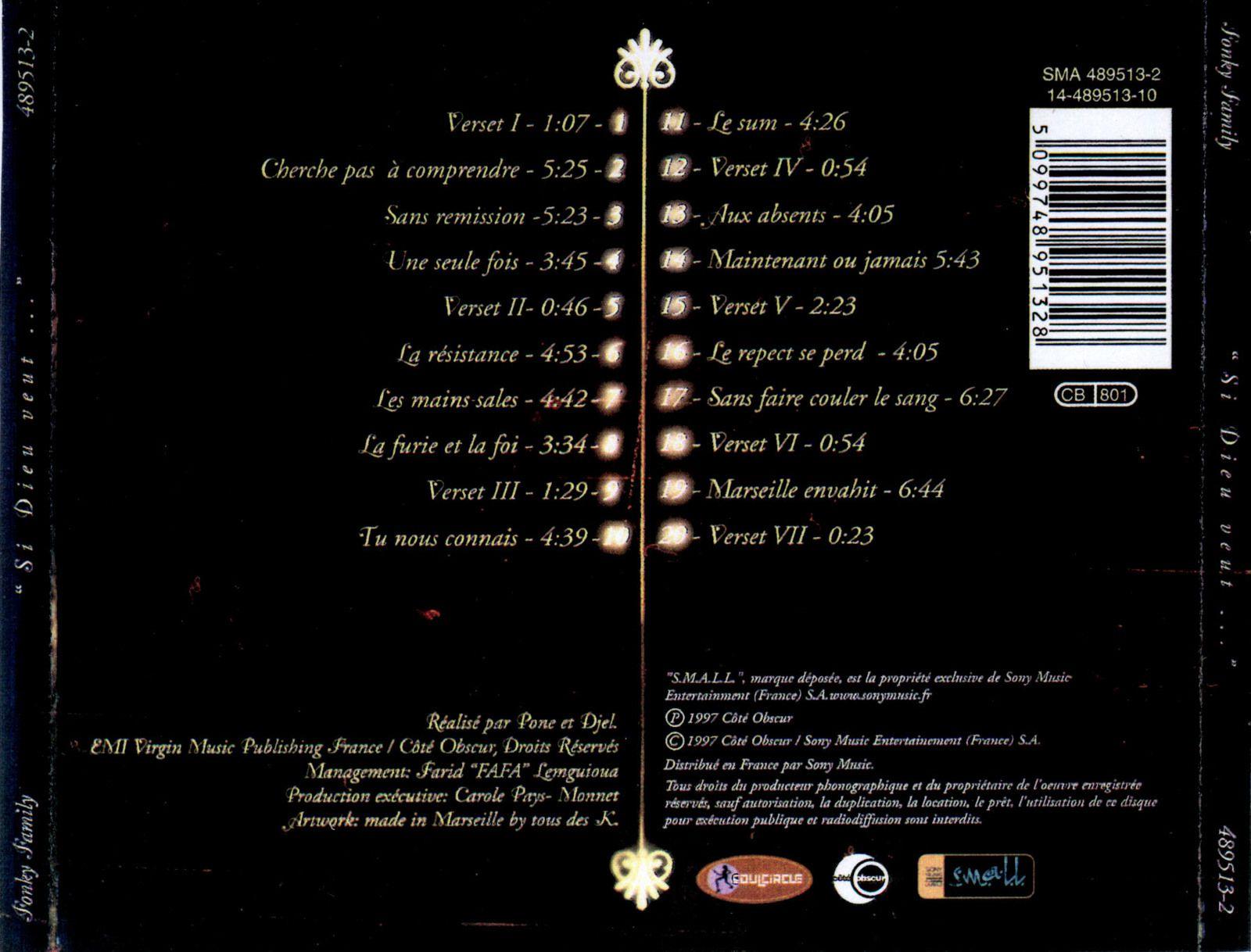 Fonky Family - Si Dieu veut... (Inch Allah) - cover back (1997) - le rap c'était mieux avant