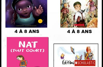 *SULWE: Lupita Nyong'o, illustrations de Vashti Harrison* LE GRAND SECRET DE CLARENCE: Christine MacGregor Cation et Roy MacGregor, illustrations de Mathilde Cinq-Mars* NAT(TOUT COURT) : Maria Scrivan* Éditions Scholastic* par Martine Lévesque*