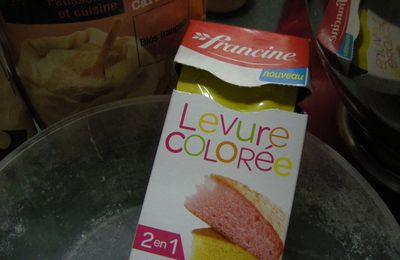 Essai gourmand cake arc en ciel levures colorées de Francine.