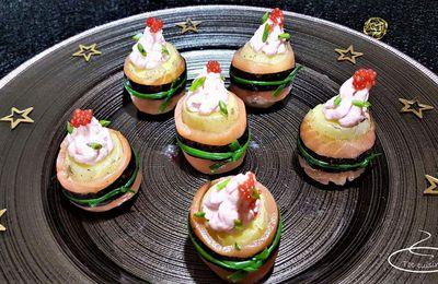 makis de pommes de terre grenaille au saumon et petits sapins de tarama