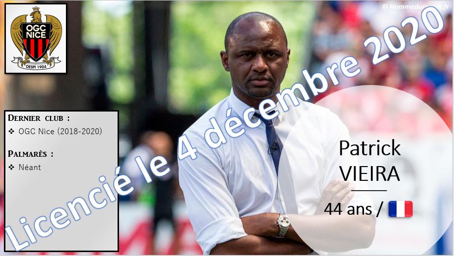 4 décembre 2020 : licenciement de Patrick Vieira, remplacé par Adrian Ursea (Nice).