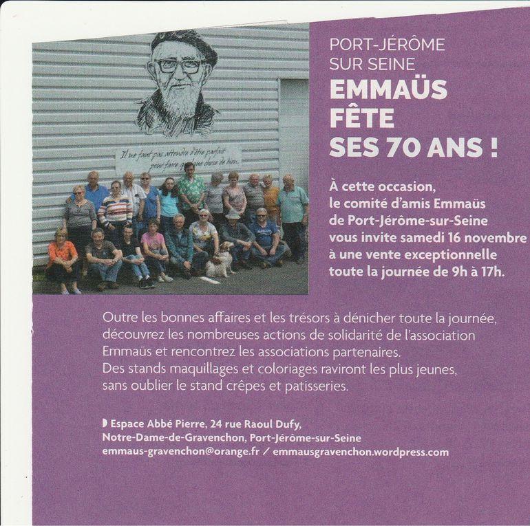 le 16 novembre 2019 - Invitation à la participation du 70e anniversaire d'Emmaüs