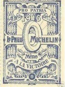 Rare timbre pneu Michelin guerre 1914 /18