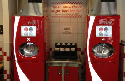 "La fontaine à sodas ""Freestyle"" et stylée chez Five Guys London"