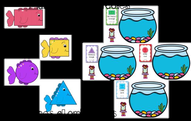Les formes géométriques : les poissons et leur aquarium