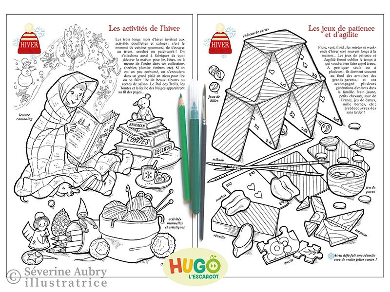 Conception et réalisation d'un cahier de coloriages sur l'hiver - Hugo l'escargot - 2015