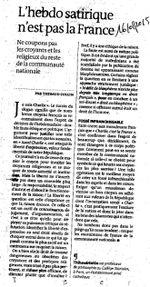 """""""L'hebdo satirique n'est pas la France"""", certes!"""