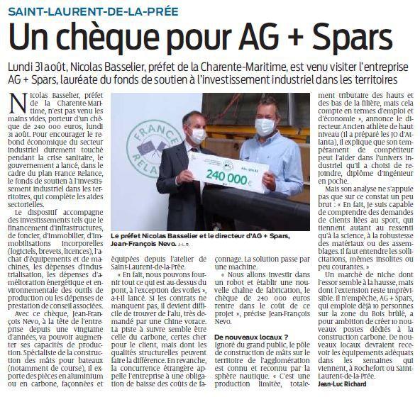 SUD OUEST - UN CHEQUE POUR AG + SPARS