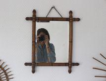 Miroir ancien biseauté en bois style bambou Vintage