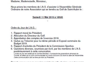 Convocation Assemblée Générale de l'AS - Samedi 11 mai 2019 à 18h