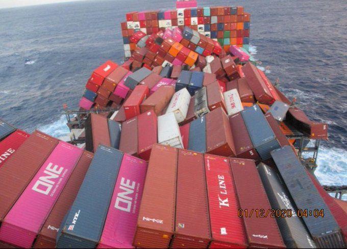 Un porte-conteneurs perd près de 2000 boîtes dans le Pacifique