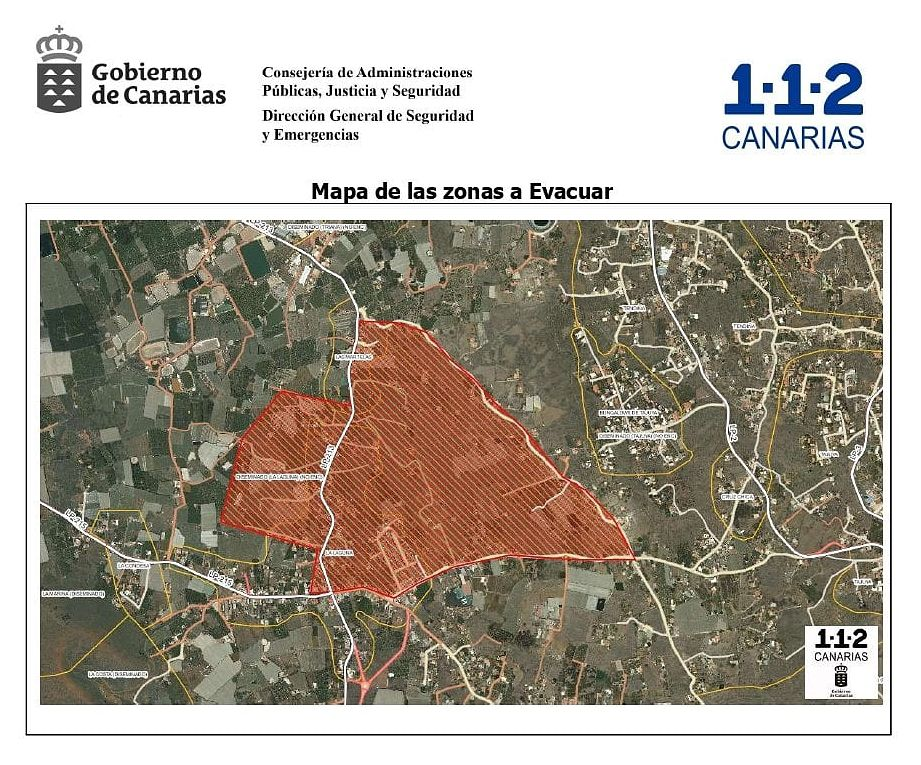 La Palma - new area to be evacuated following the advance of the north flow - Doc. Gobierno de Canarias