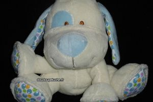 Doudou chien Gipsy avec grelot, blanc bleu, chien assis