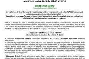SERIC 2019 - 4 décembre 2019 - 75004 PARIS - Enfance confisquée. Solidarité avec les Enfants de Palestine