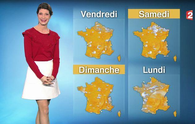 📸4 📺1 CHLOE NABEDIAN @ChloeNabedian @Soniadsm ce midi pour LA METEO @France2tv #vuesalatele