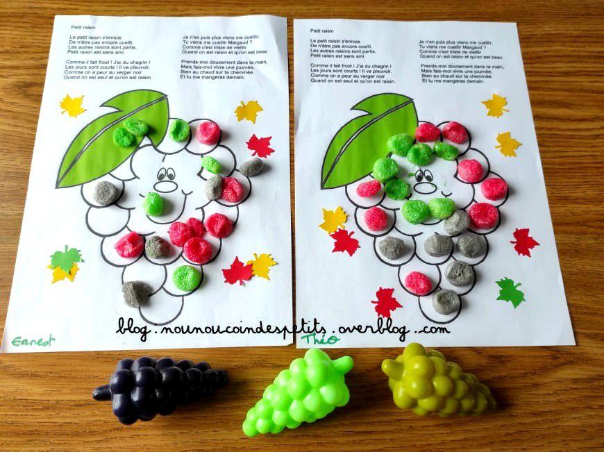 .. Bricolage enfant Le raisin Playmais ..