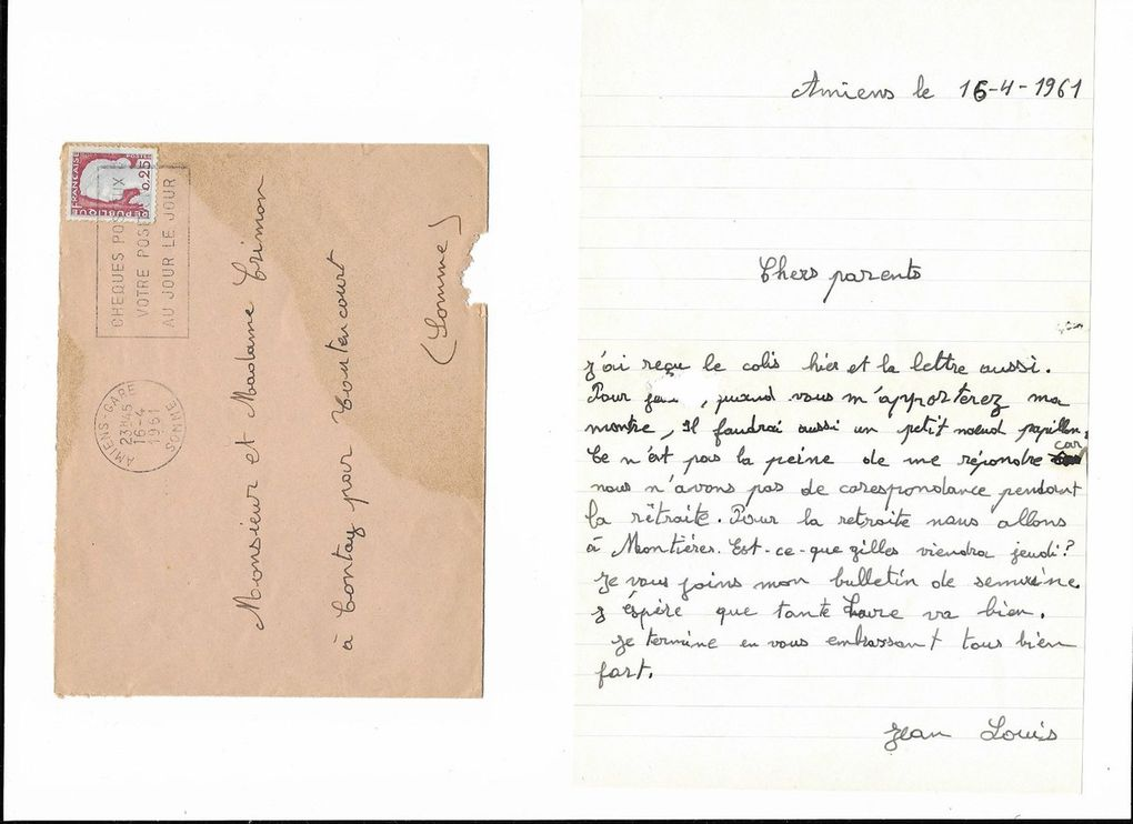 Amiens. Lettre à mes parents du 16 Avril 1961. © Jean-Louis Crimon