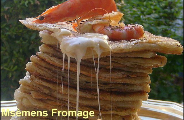 Mséméns : Crêpes Marocaines Fromage - Crevette