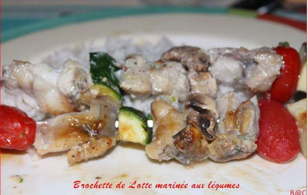 Brochettes de légumes et lotte marinée au lait de coco