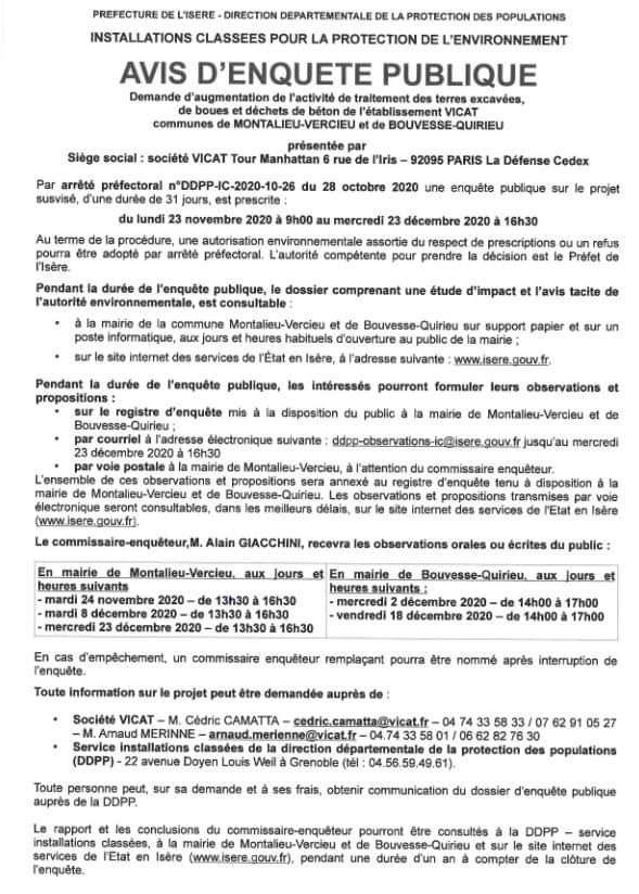 RAPPEL :  l' enquête publique concernant la demande du cimentier VICAT de Montalieu Vercieu débute le lundi  23 Novembre 2020 ...